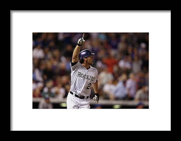 Celebration Framed Print featuring the photograph New York Mets V Colorado Rockies 1 by Doug Pensinger