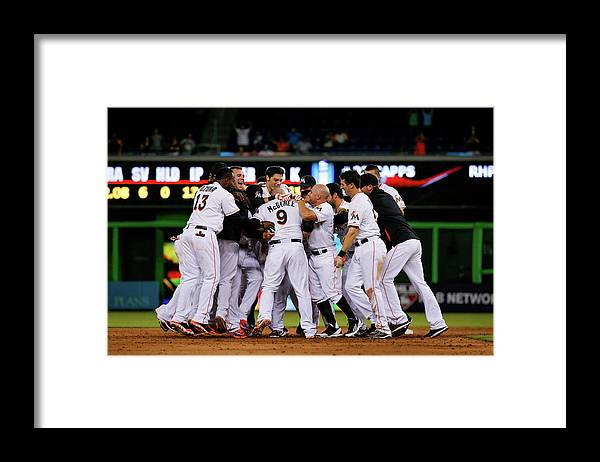 Ninth Inning Framed Print featuring the photograph New York Mets V Miami Marlins by Rob Foldy