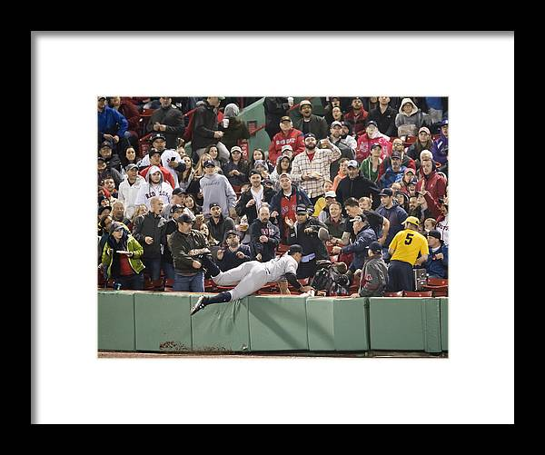 People Framed Print featuring the photograph New York Yankees v Boston Red Sox by Michael Ivins/Boston Red Sox