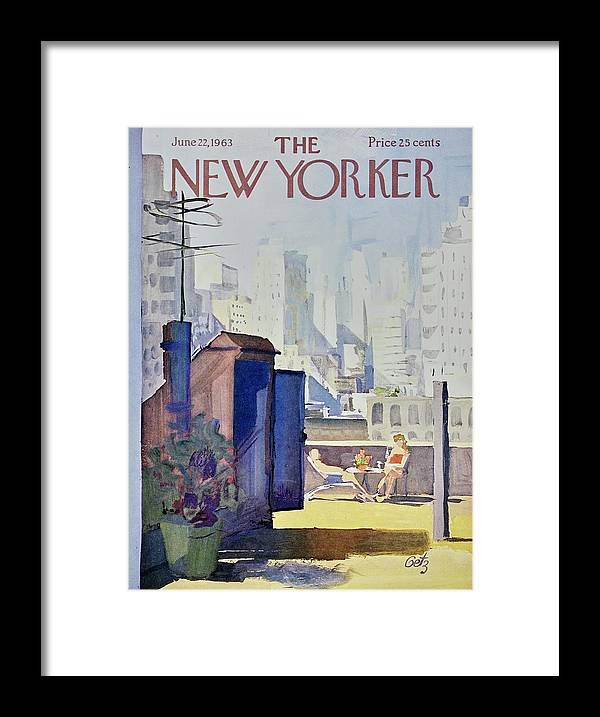 Illustration Framed Print featuring the painting New Yorker June 22nd 1963 by Arthur Getz