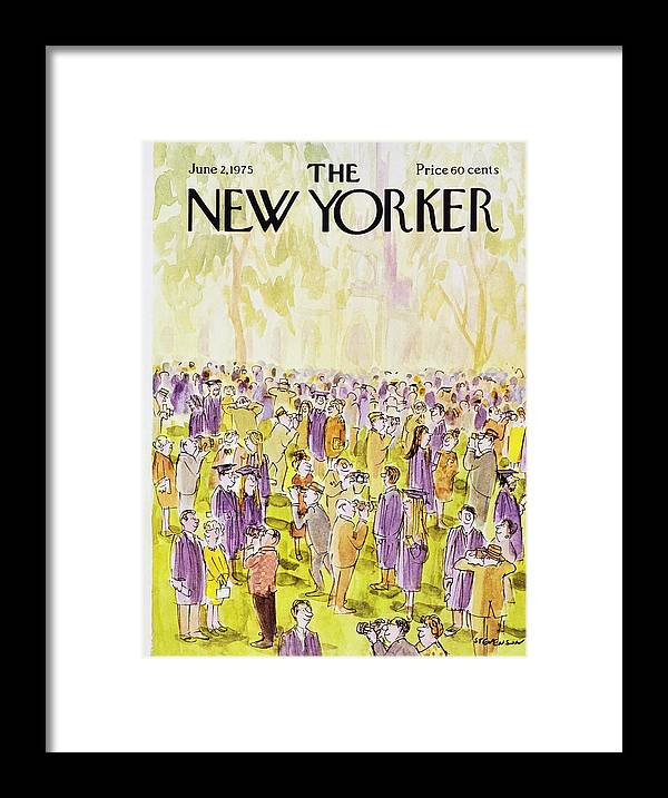 Illustration Framed Print featuring the painting New Yorker June 2nd 1975 by James Stevenson