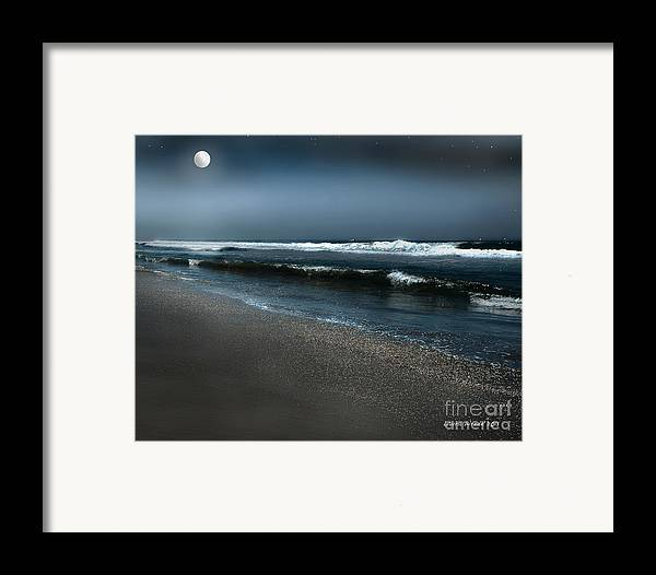 Beach Framed Print featuring the photograph Night Beach by Artist and Photographer Laura Wrede