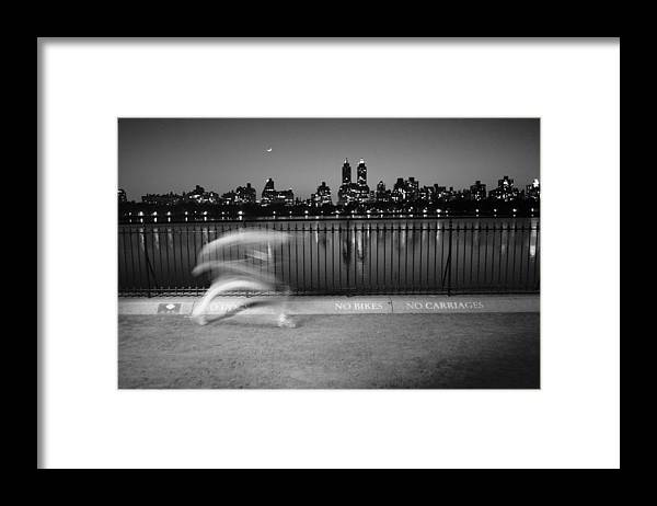Beckerman Framed Print featuring the photograph Night Jogger Central Park by Dave Beckerman