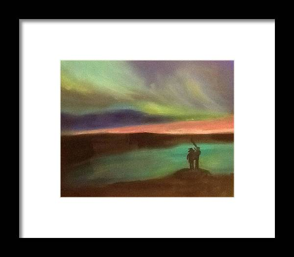 Northern Lights Auroras Oil Painting Canvas Views Landscapes Skyscapes Framed Print featuring the painting Northern Lights 2 by Audrey Pollitt