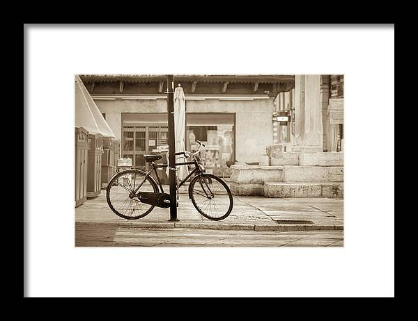 Residential District Framed Print featuring the photograph Old Bicycle Parking by Deimagine