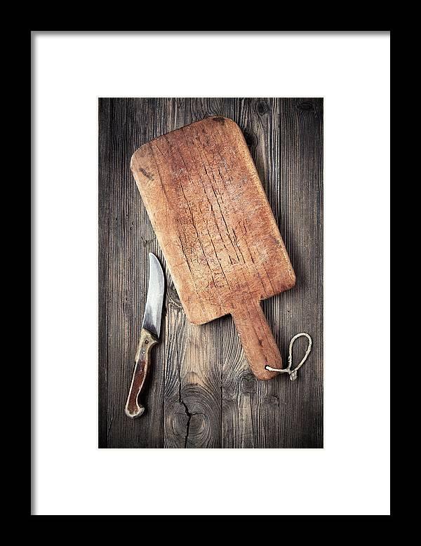 Empty Framed Print featuring the photograph Old Cutting Board And Knife by Barcin