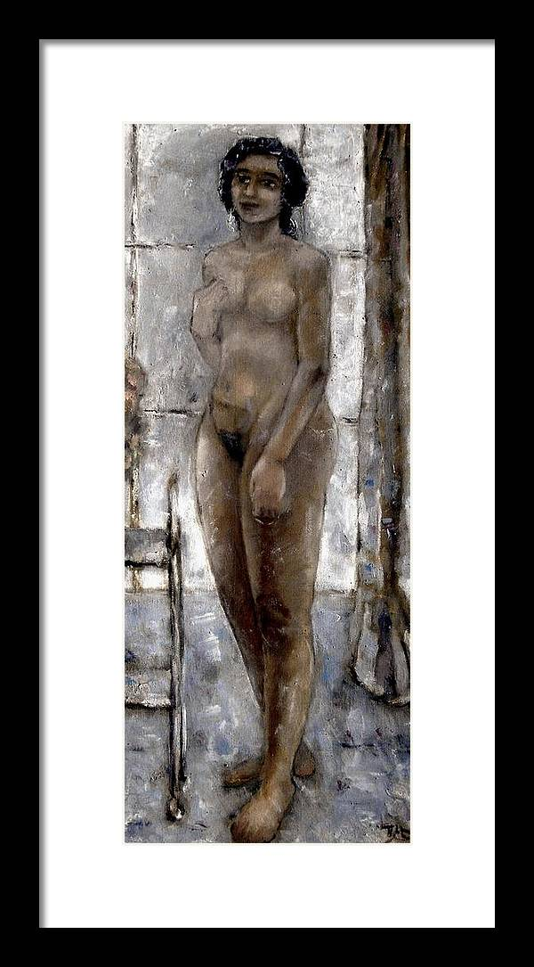 Nude Framed Print featuring the painting On The Terrace by Pemaro