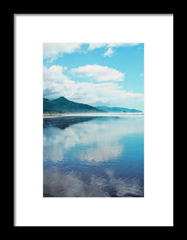 Mountain Framed Print featuring the photograph Oregon Coastline At Cannon Beach by Rachel Buckley
