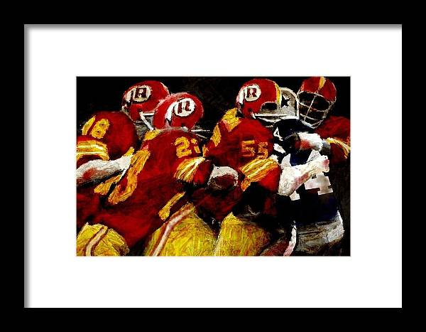 Washington Redskins Framed Print featuring the digital art Out For Blood by Carrie OBrien Sibley