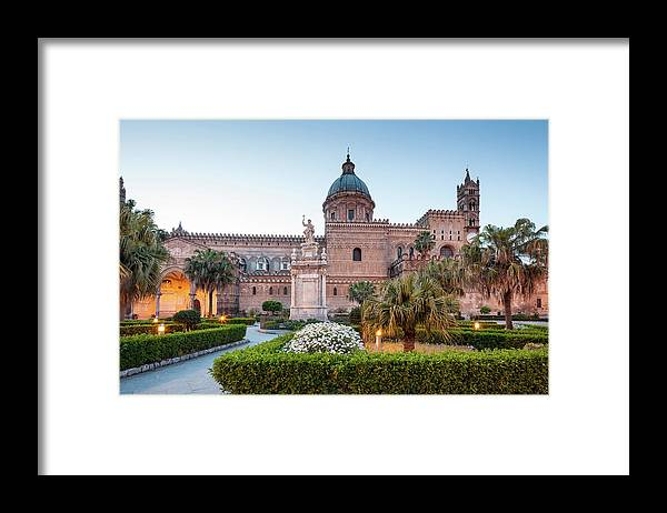 Saturated Color Framed Print featuring the photograph Palermo Cathedral At Dusk, Sicily Italy by Romaoslo