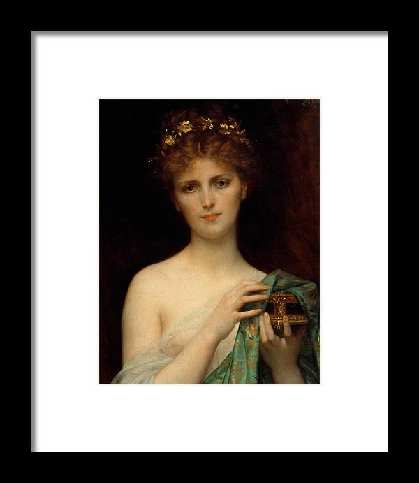 6b7b52ae9574 Pandora Framed Print featuring the painting Pandora by Alexandre Cabanel