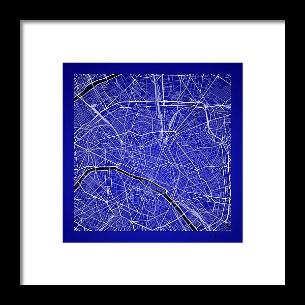 Paris Street Map - Paris France Road Map Art On Color Framed Print ...