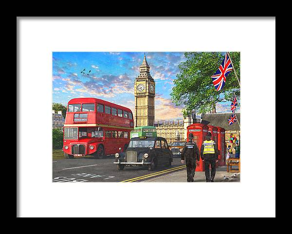 Parliament Framed Print featuring the painting Parliament Square by MGL Meiklejohn Graphics Licensing