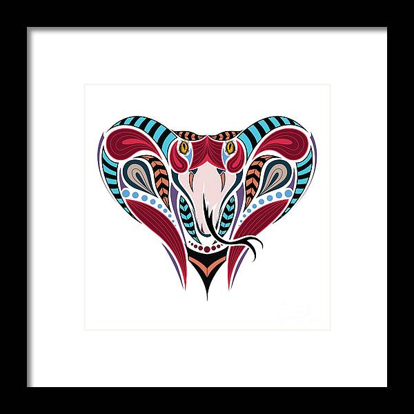 Cobra Framed Print featuring the digital art Patterned Colored Head Of The King 1 by Sunny Whale