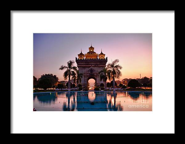 Arc De Triomphe Framed Print featuring the photograph Patuxai In Vientiane Laos by Fototrav Print
