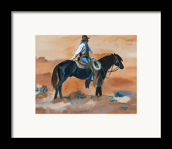 Western Art Framed Print featuring the painting Paul On Watch by Janina Suuronen