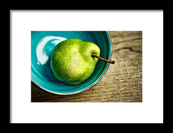Pear; Pears; Fruit; Ripe; Juicy; Fruits; Group; Many; Row; Heap; Whole; Stoneware; Bowl; Blue Framed Print featuring the photograph Pears by Nailia Schwarz