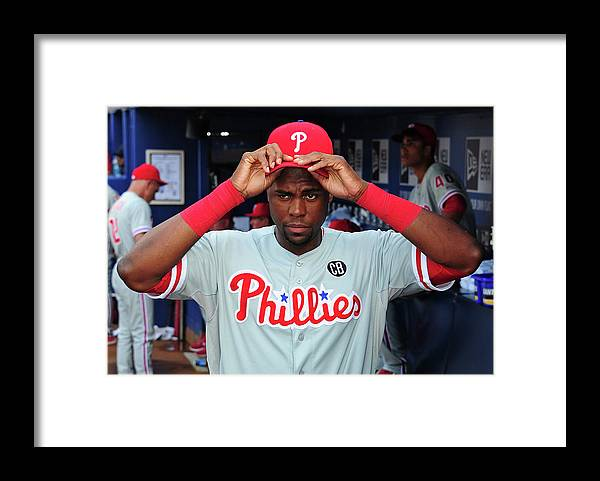 Atlanta Framed Print featuring the photograph Philadelphia Phillies V Atlanta Braves by Scott Cunningham