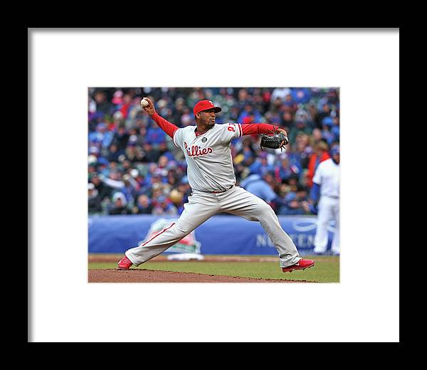 Ball Framed Print featuring the photograph Philadelphia Phillies V Chicago Cubs by Jonathan Daniel