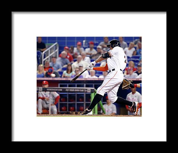 American League Baseball Framed Print featuring the photograph Philadelphia Phillies V Miami Marlins 1 by Rob Foldy