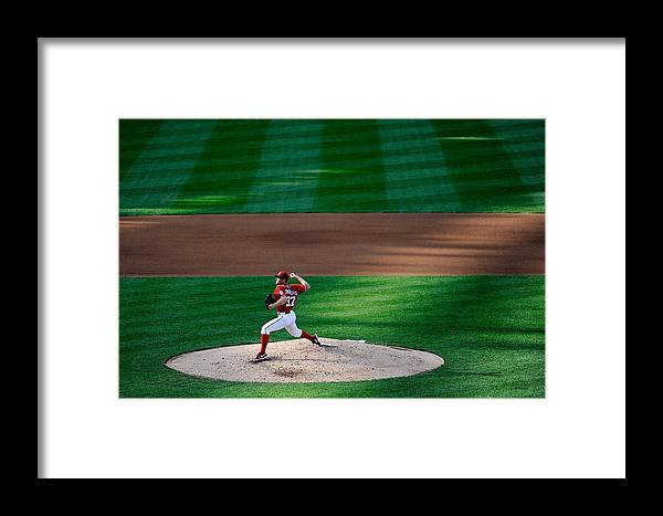 American League Baseball Framed Print featuring the photograph Philadelphia Phillies V Washington 1 by Patrick Mcdermott