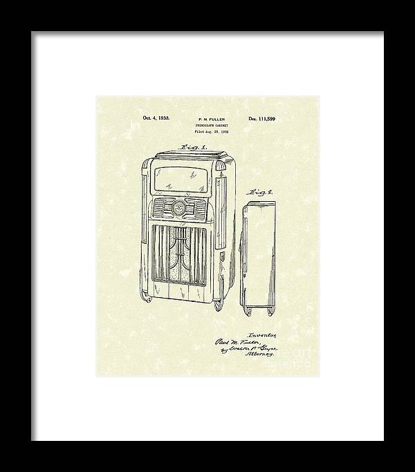 Fuller Framed Print featuring the drawing Phonograph Cabinet 1938 Patent Art by Prior Art Design