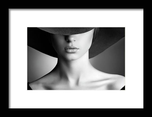 People Framed Print featuring the photograph Photo Of Beautiful Woman In Retro Style by Coffeeandmilk