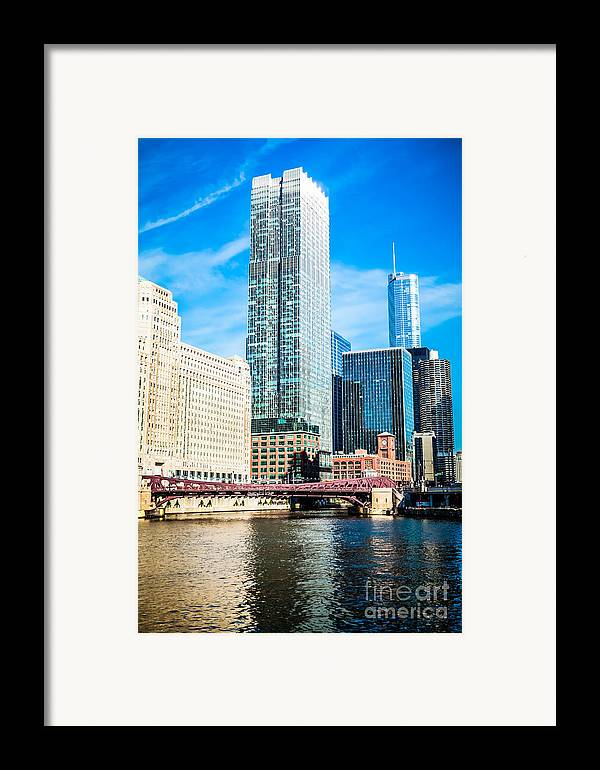 300 North Lasalle Building Framed Print featuring the photograph Picture Of Chicago River Skyline At Franklin Bridge by Paul Velgos