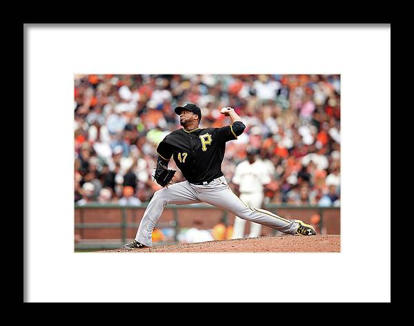 San Francisco Framed Print featuring the photograph Pittsburgh Pirates V San Francisco 1 by Ezra Shaw