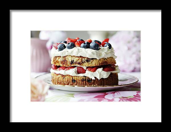 West Yorkshire Framed Print featuring the photograph Plate Of Fruit And Cream Cake by Debby Lewis-harrison