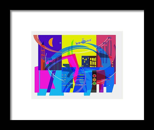 City Framed Print featuring the drawing Playing Shapes City 01 by MGL Meiklejohn Graphics Licensing