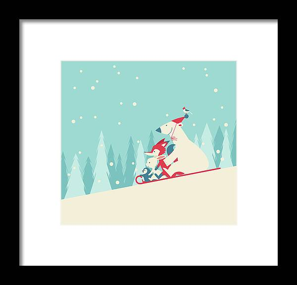 Snow Framed Print featuring the digital art Playing Snow Sled by Akindo