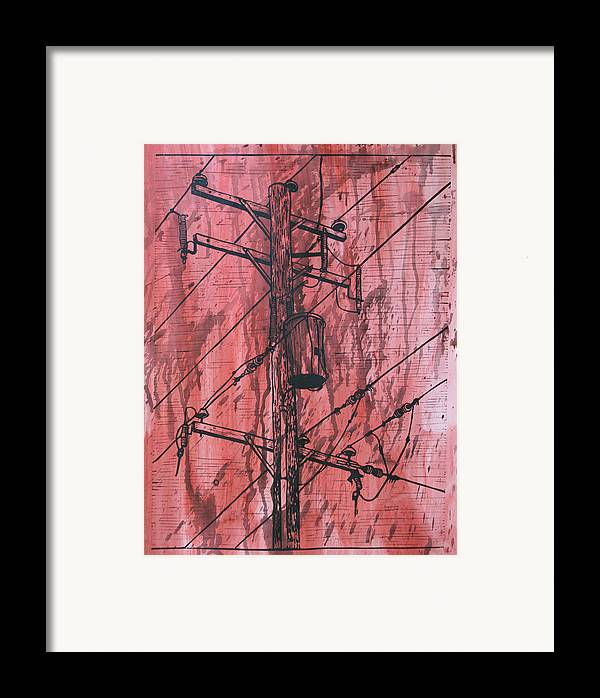 Lino Framed Print featuring the drawing Pole With Transformer by William Cauthern