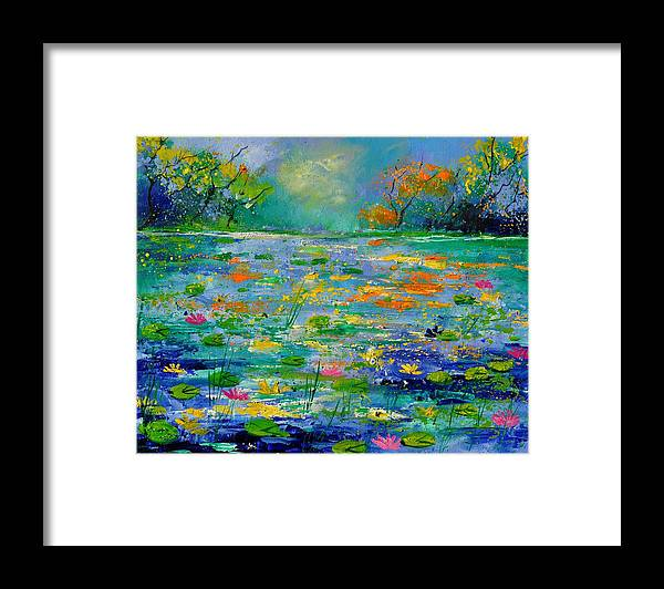 Landscape Framed Print featuring the painting Pond 454190 by Pol Ledent