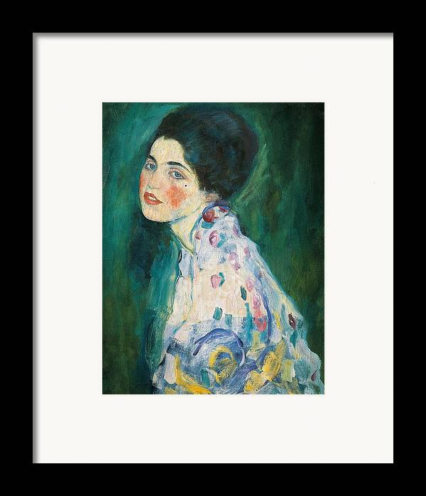 Female Framed Print featuring the painting Portrait Of A Young Woman by Gustav Klimt