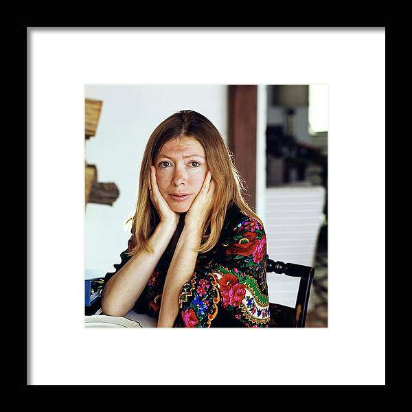 Lifestyle Framed Print featuring the photograph Portrait Of Joan Didion by Henry Clarke