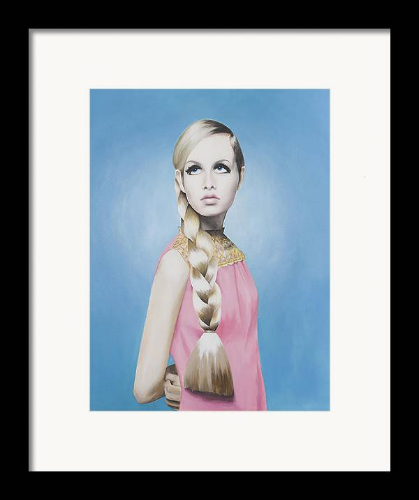Twiggy Framed Print featuring the painting Portrait Of Twiggy by Moe Notsu