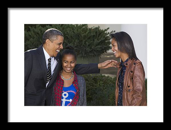 President Framed Print featuring the photograph President Obama And Daughters by JP Tripp