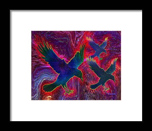 Ravens On Red Framed Print featuring the painting Raven On Red by Teresa Ascone