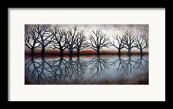 Tree Framed Print featuring the painting Reflecting Trees by Janet King