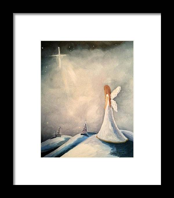 Angel Star Snow Christmas Framed Print featuring the painting Rejoice by Vanda Bleavins
