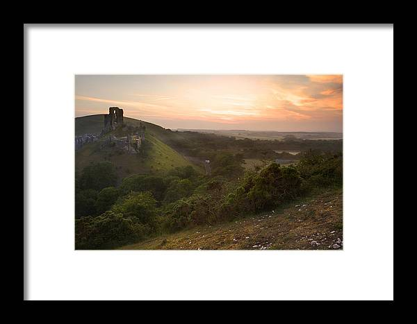 Castle Framed Print featuring the photograph Romantic Fantasy Magical Castle Ruins Against Stunning Vibrant S by Matthew Gibson