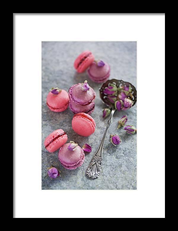 Stuffed Framed Print featuring the photograph Rose Macarons by Verdina Anna