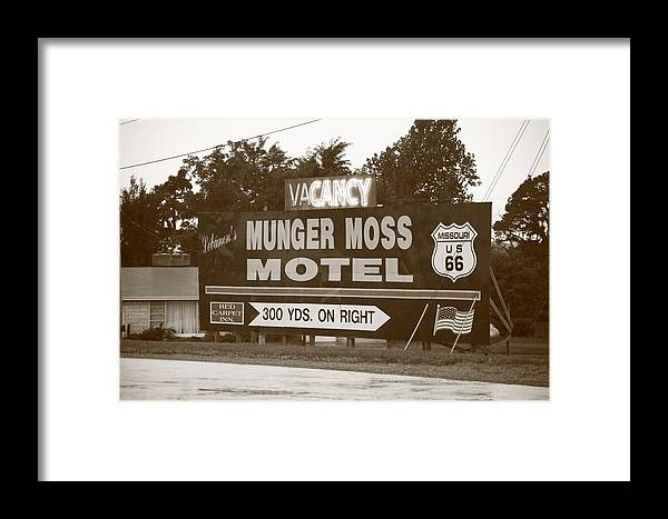 66 Framed Print featuring the photograph Route 66 - Munger Moss Motel Sign by Frank Romeo