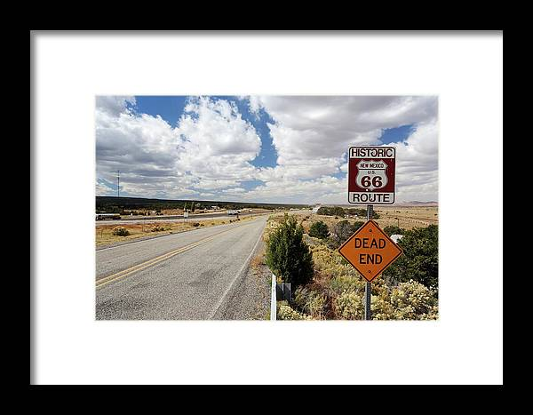Nobody Framed Print featuring the photograph Route 66 Sign by Michael Szoenyi