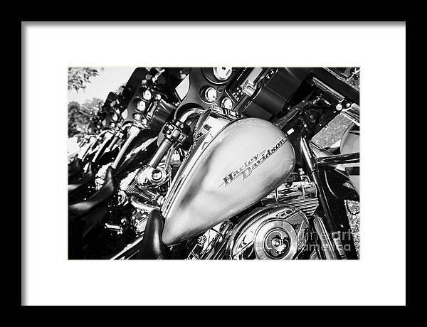 Harley-davidson Framed Print featuring the photograph Row Of Harley Davidson Street Glide Motorbikes Outside Motorcycle Dealership Orlando Florida Usa by Joe Fox