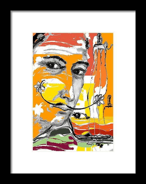Portraits Framed Print featuring the digital art Salvador Dali by Sladjana Lazarevic