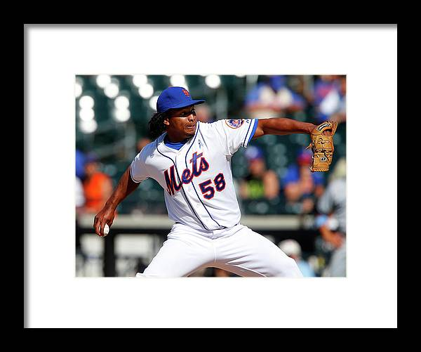 Jenrry Mejía Framed Print featuring the photograph San Diego Padres V New York Mets by Jim Mcisaac