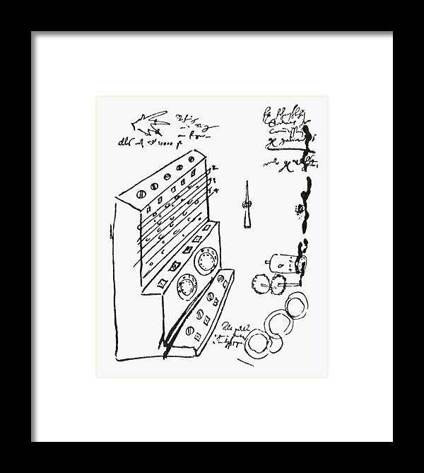 1632 Framed Print featuring the drawing Schickard Calculator by Granger