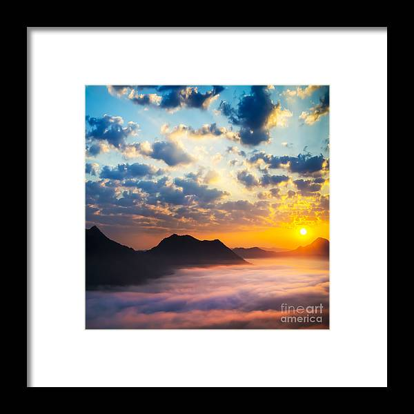 Thailand Framed Print featuring the photograph Sea Of Clouds On Sunrise With Ray Lighting by Setsiri Silapasuwanchai